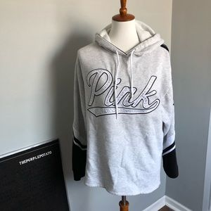 PINK Victoria's Secret Gray Jeweled Logo Hoodie